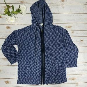 Textured Blue 3/4 Sleeve Hoodie